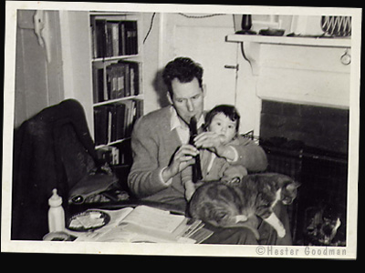 Hester with her dad and cat